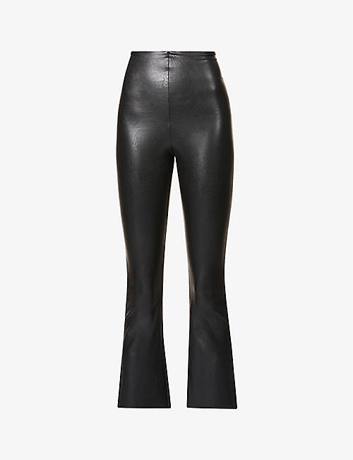 COMMANDO: Cropped flared high-rise faux-leather trousers