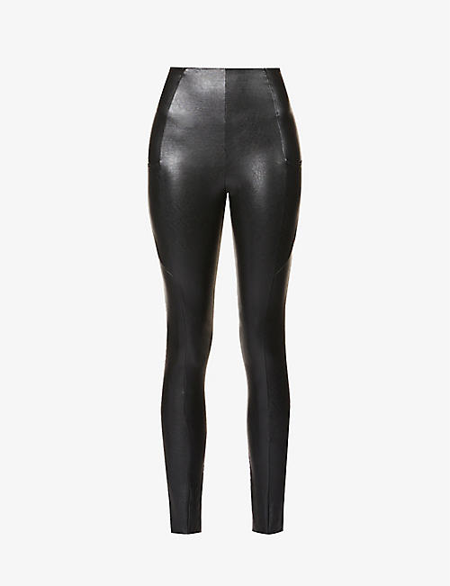 COMMANDO: Fitted high-rise faux-leather leggings