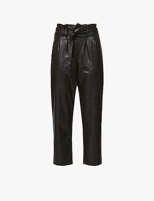 COMMANDO: Paperbag-waist tapered high-rise faux-leather trousers