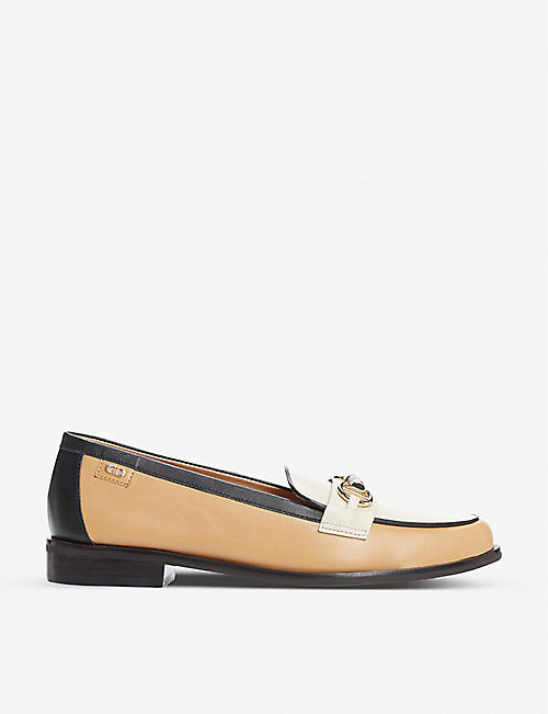DUNE: Glossi colour-block raffia loafers