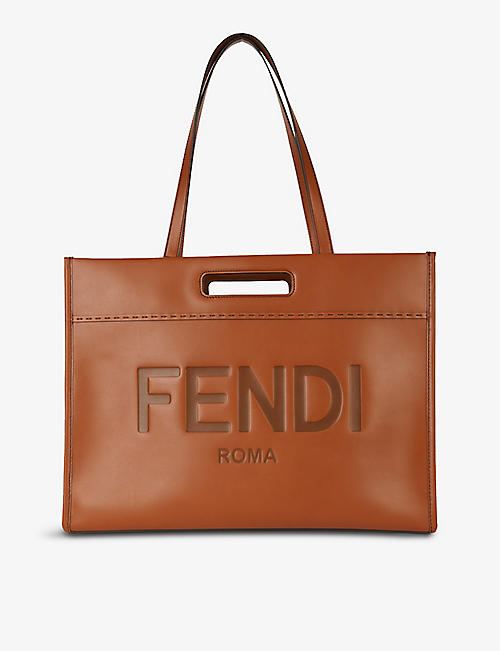 FENDI: Roma brand-debossed leather tote bag