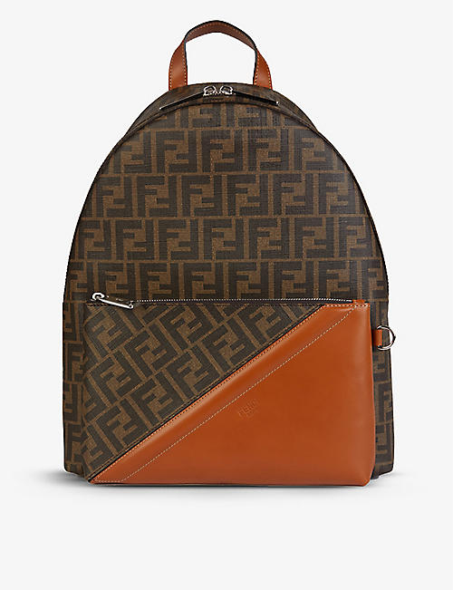 FENDI: Logo-print canvas and leather backpack