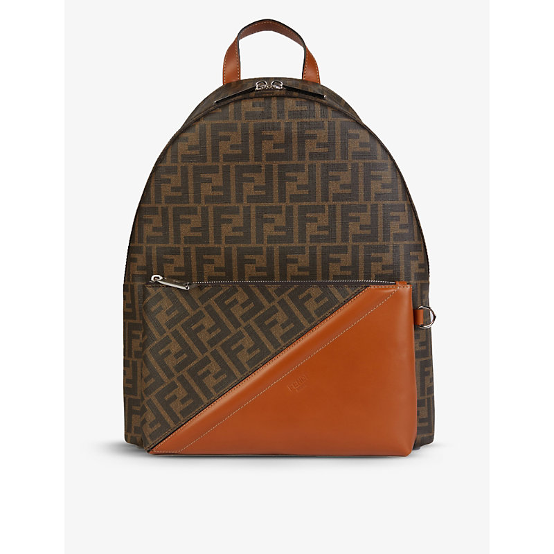 FENDI LOGO-PRINT CANVAS AND LEATHER BACKPACK