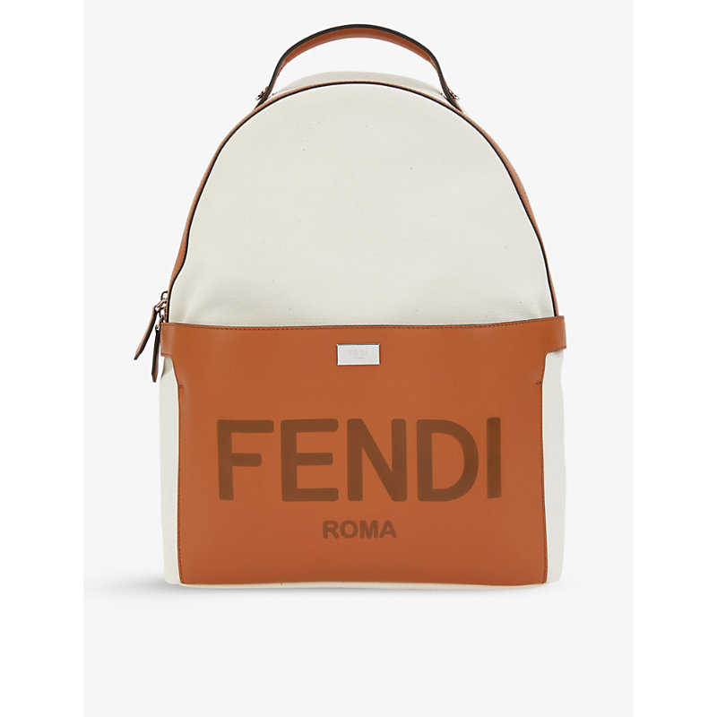 FENDI ROMA ZIPPED CANVAS AND LEATHER BACKPACK