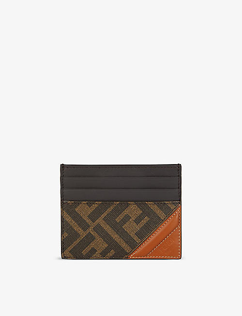 FENDI: Logo-print coated-canvas card holder