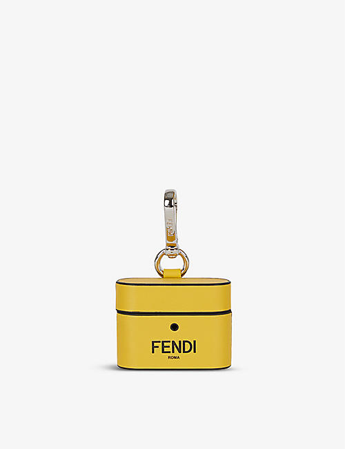 FENDI: Roma logo-print leather Aipods case