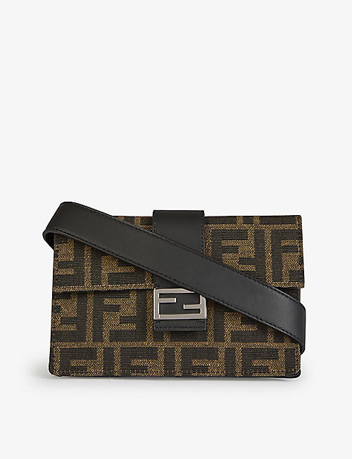 FENDI: Mini Baguette branded woven cross-body bag