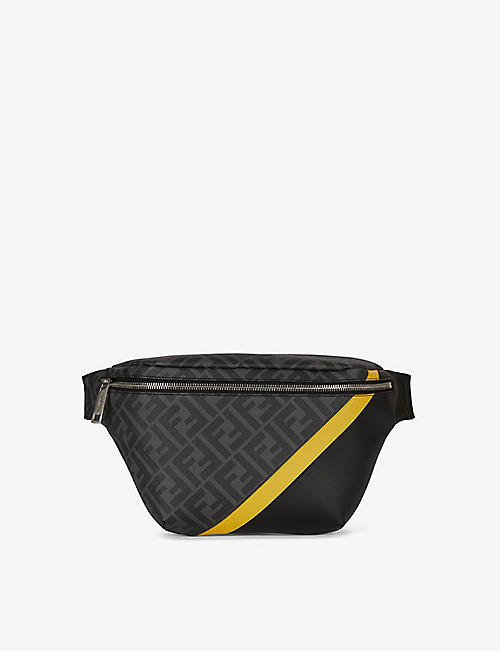 FENDI: Brand-print zipped coated-canvas belt bag