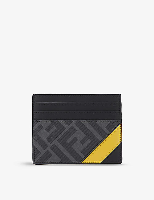 FENDI: Logo-print leather card holder