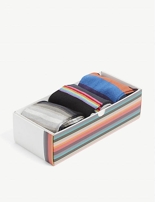 PAUL SMITH: Striped cotton-blend sock set of three