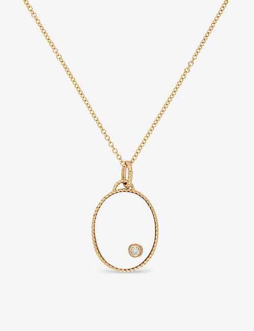 YVONNE LEON: Medaillon Ovale 9ct yellow-gold, 0.04ct diamond and 4.25ct crystal pendant necklace