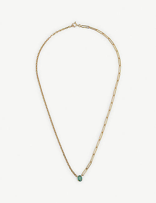YVONNE LEON: Collier Solitaire 18ct yellow-gold and emerald necklace