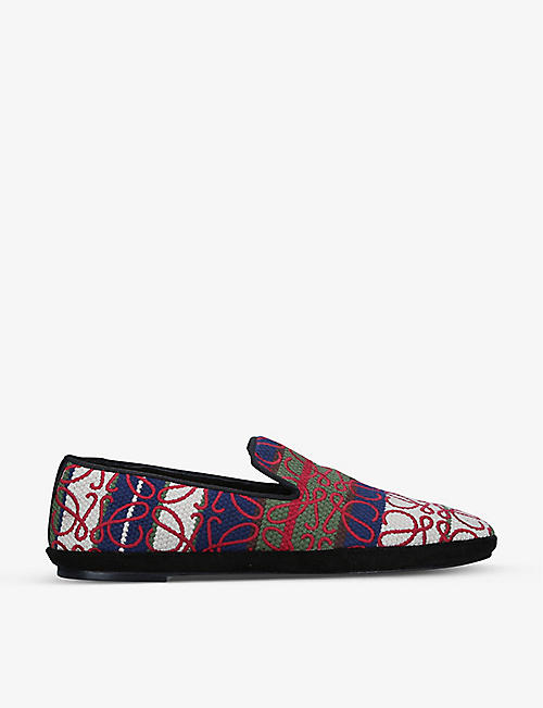 LOEWE: Anagram embroidered canvas slippers