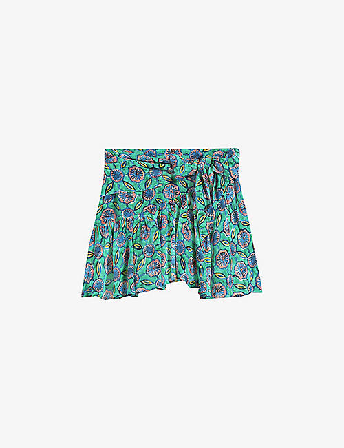 CLAUDIE PIERLOT: Sister graphic-print silk-blend mini skirt