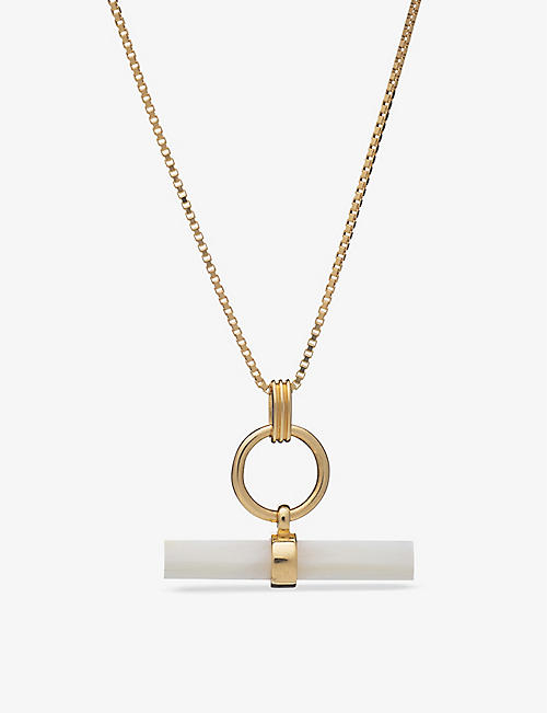 RACHEL JACKSON: Momento T-Bar 22ct gold-plated sterling silver and mother-of-pearl necklace