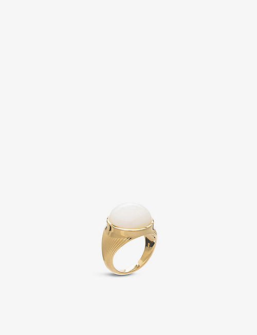 RACHEL JACKSON: Mother-of-pearl cabochon 22ct yellow gold-plated sterling-silver ring