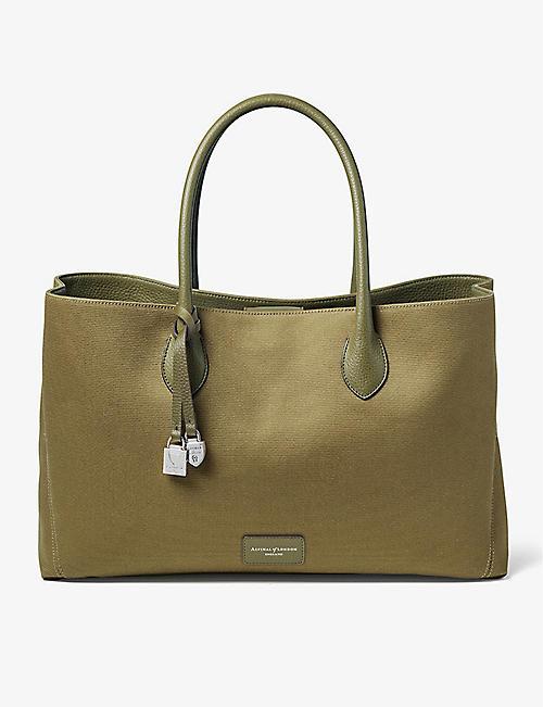ASPINAL OF LONDON: London logo-embossed canvas tote bag