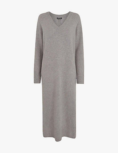 WHISTLES: V-neck wool-knit midi dress