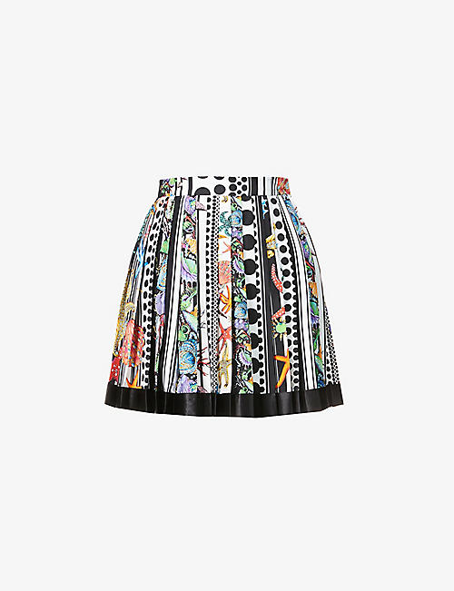 VERSACE: Graphic-print pleated silk mini skirt