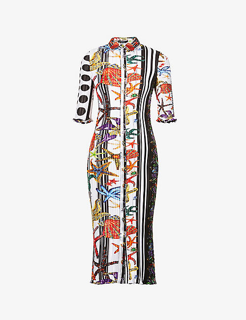 VERSACE: Graphic-print silk shirt midi dress