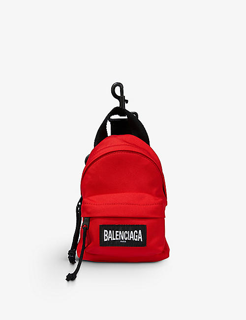 BALENCIAGA: Brand-embroidered woven mini backpack