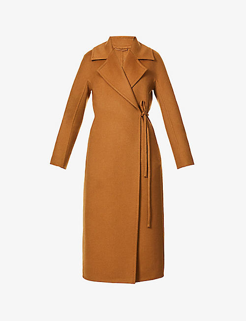 MAX MARA: Piroghe wrap-over camel-wool coat