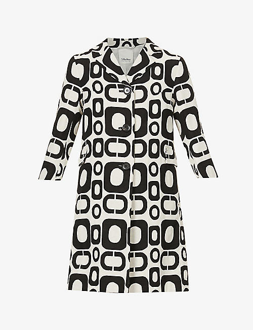 S MAX MARA: Paride graphic-print wool and cashmere-blend midi dress