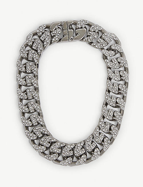 GIVENCHY: G-Chain crystal-embellished silver-toned necklace