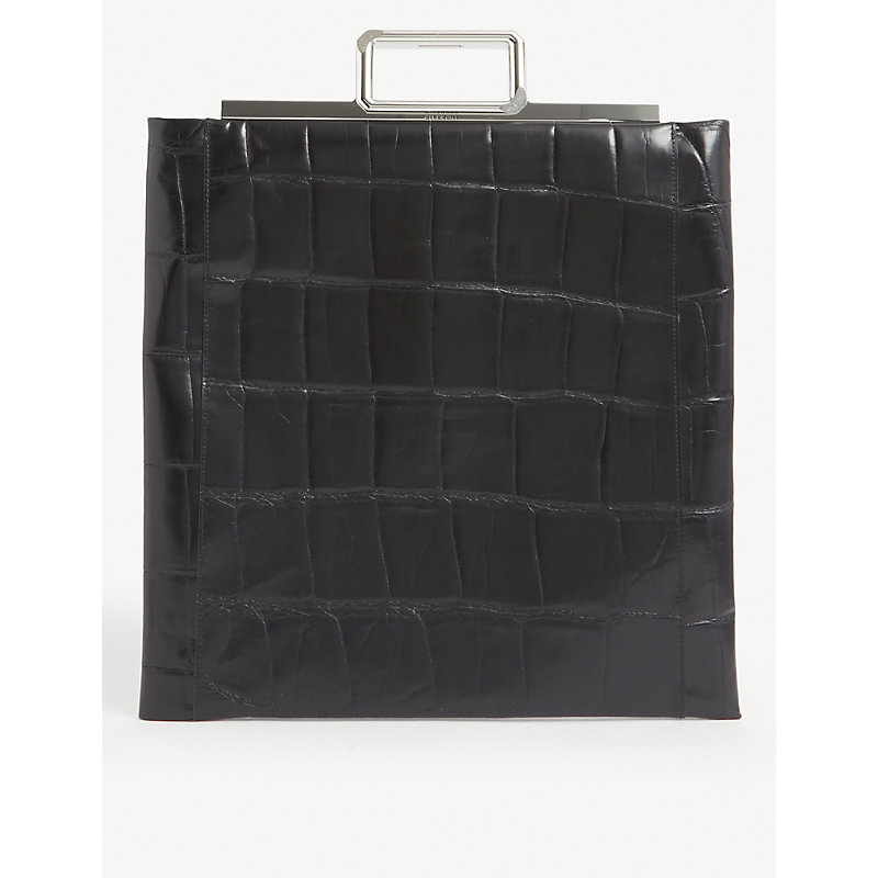 Givenchy METAL-HANDLE CROC-EMBOSSED LEATHER SHOPPER BAG