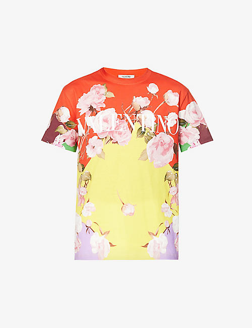 VALENTINO: Floral-print relaxed-fit cotton-jersey T-shirt