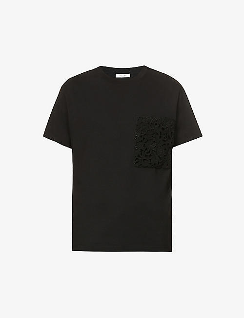 VALENTINO: Floral-embroidered relaxed-fit cotton-jersey T-shirt