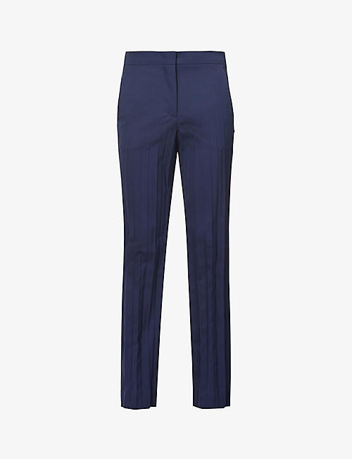SPORTMAX: Clara pleated mid-rise wool-blend trousers