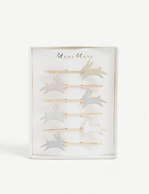 MERI MERI: Bunny enamelled-brass hair slides