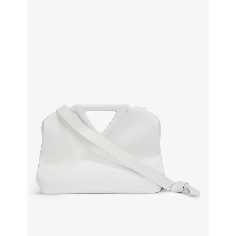 Bottega Veneta Point Medium Leather Shoulder Bag In Chalk White