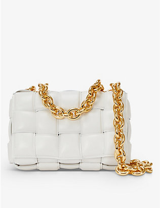 BOTTEGA VENETA: The Chain Cassette intrecciato leather shoulder bag