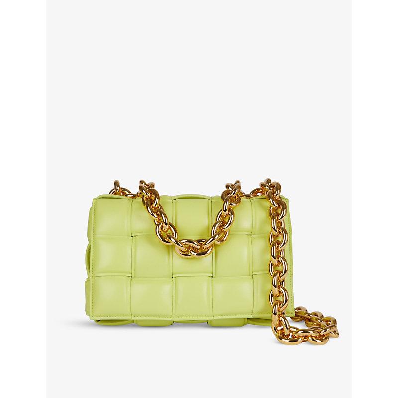 Bottega Veneta The Chain Cassette Intrecciato Leather Shoulder Bag In Seagrass