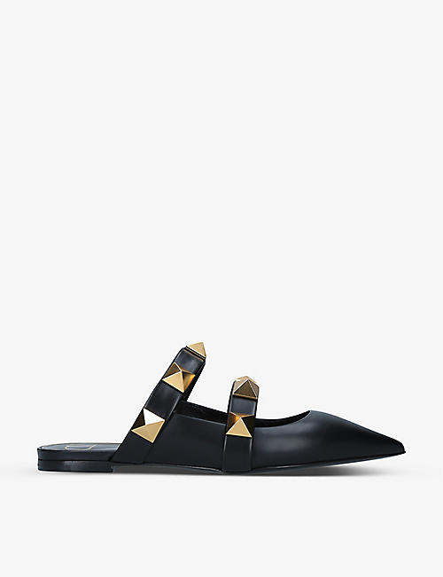 VALENTINO GARAVANI: Roman Stud pointed-toe leather mules
