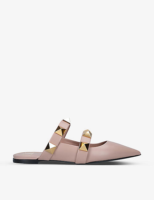 VALENTINO GARAVANI: Oversized Rockstud pointed-toe leather mules