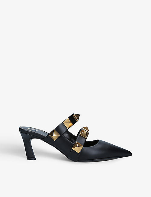 VALENTINO GARAVANI: Oversized Rockstud leather heeled mules