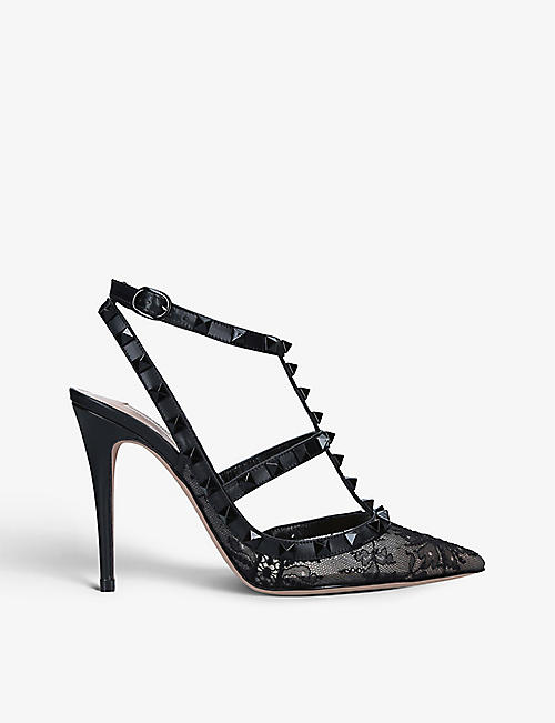 VALENTINO GARAVANI: Rockstud stiletto-heel lace and leather courts
