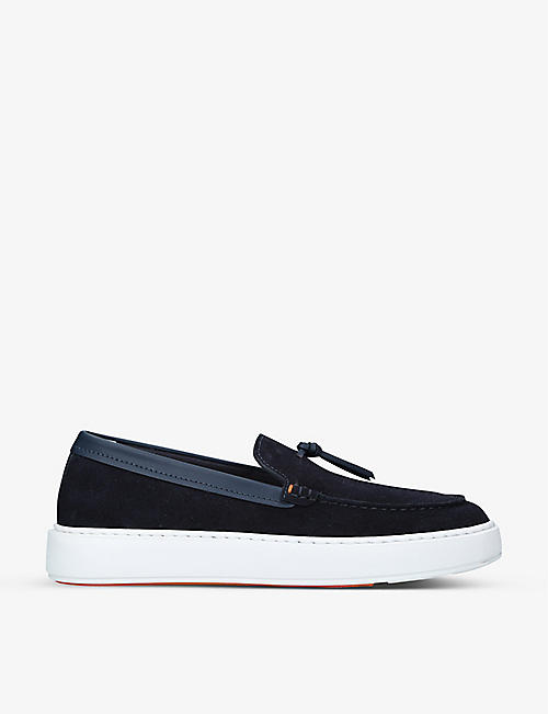 SANTONI: Tassle slip-on suede shoes