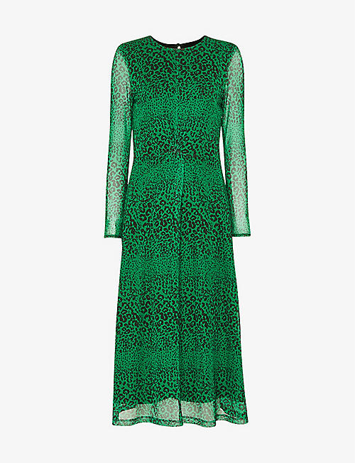 WHISTLES: Animal-print woven midi dress