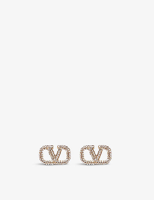 VALENTINO GARAVANI: VLOGO crystal-embellished brass stud earrings