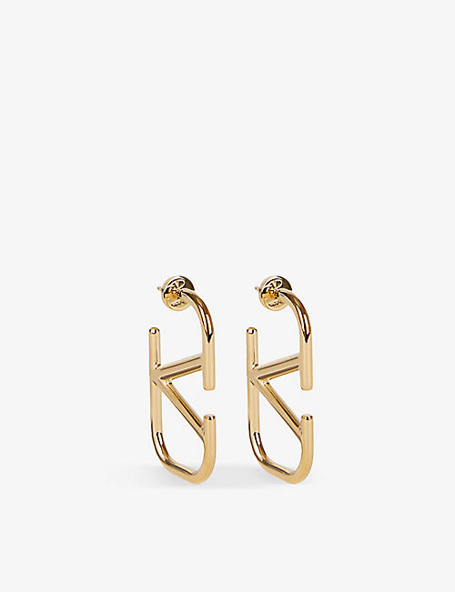 VALENTINO GARAVANI: VLOGO gold-toned brass earrings