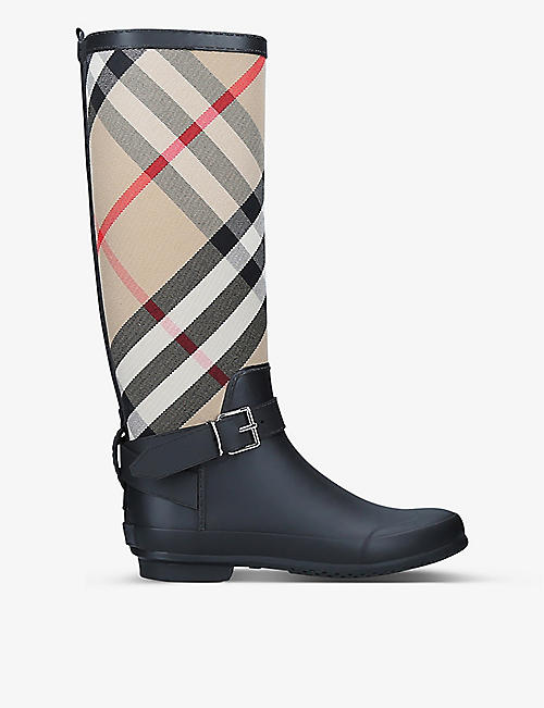 BURBERRY: Simeon checked textile and rubber wellington boots