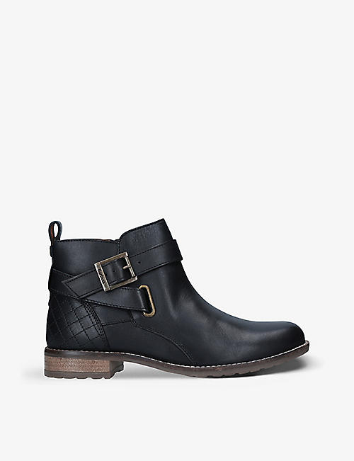 BARBOUR: Jane buckle-embellished leather ankle boots