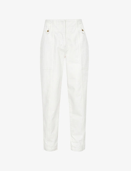 REISS: Alana tapered mid-rise recycled-cotton blend cargo trousers