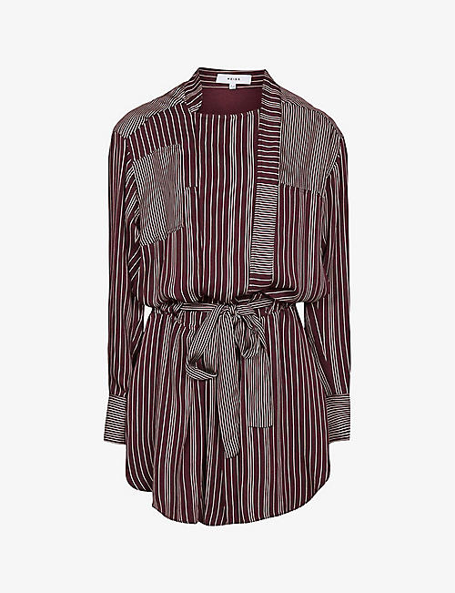 REISS: Albi stripped woven mini dress