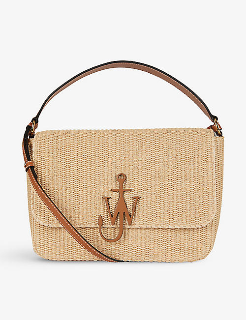 JW ANDERSON: Anchor raffia and leather cross-body bag