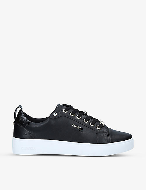 CARVELA: Joyful logo-embossed faux-leather trainers